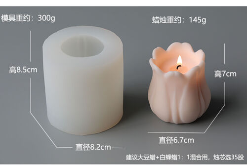 3D Candle Molds Pillar Silicone Soap Mold Tulip DIY Craft Handmade Wax Mould