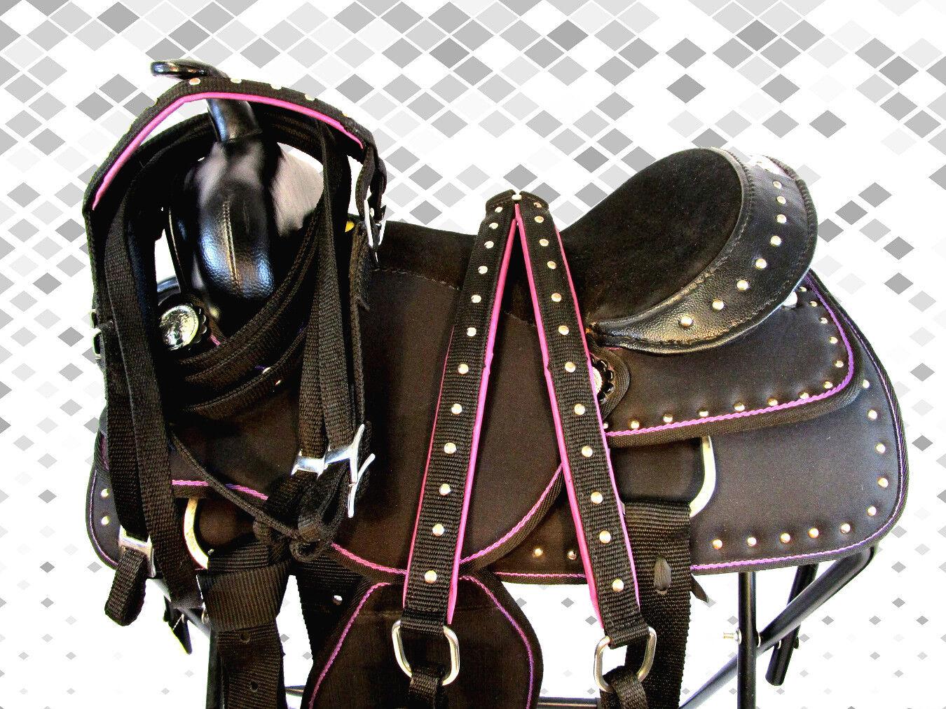 Usado 15 16 Púrpura Negro barril Racing Trail placer Sintético Silla De Montar Western