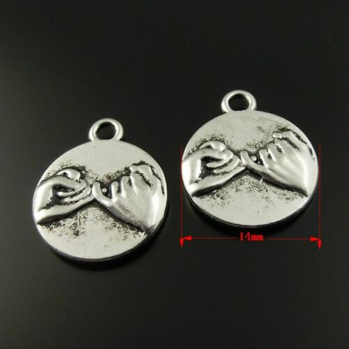 30pcs//lot Antique Silver Alloy Finger Pinky Swear Pendant Charms DIY Accessories
