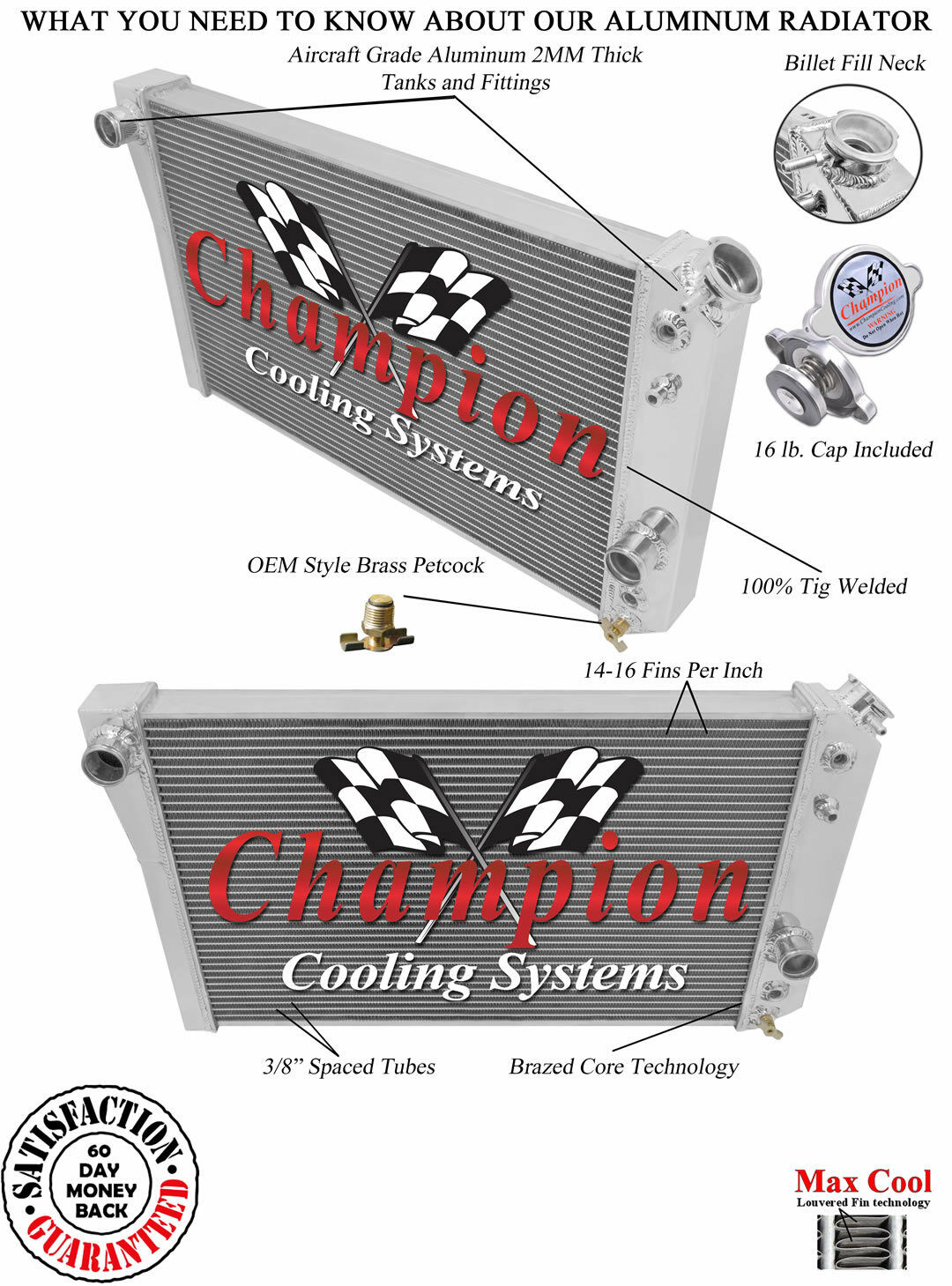 V8 Conv Champion 3 Row DR Radiator 1982 1983 1984 1985 1986-2002 Chevy S10