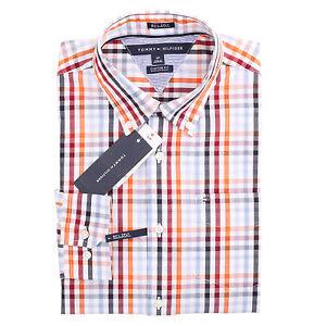 Tommy Hilfiger Men/'s Long Sleeve Custom Fit Plaid Casual Shirt $0 Free Ship