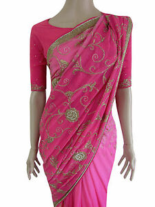 Party-Wear-Bollywood-Designer-PINK-GOLD-Ombre-Georgette-Floral-Bridal-Saree-SALE