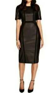 BNWOT M&S PER UNA SPEZIALE women's black leather panel shift dress szUK12