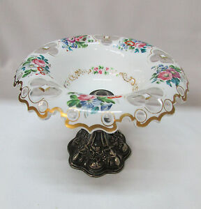 Pedestal-Compote-Bohemian-Czech-Cased-Crystal-Floral-Cut-to-Clear-Silver-Antique