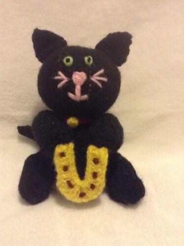 KNITTING PATTERN Lucky black cat chocolate orange cover or 15 cms toy horseshoe