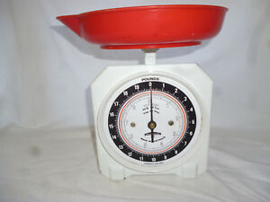 Vintage Kitchen Scales With Original Red Dish Metric Imperial