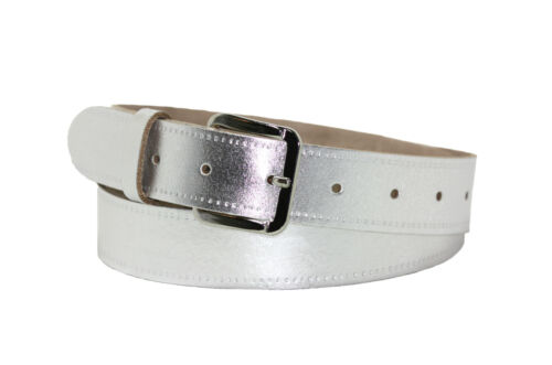 """Ladies Genuine Leather Silver Belt 1.25/""""//30mm S,M,L,XL,XXL Made in England B4"""