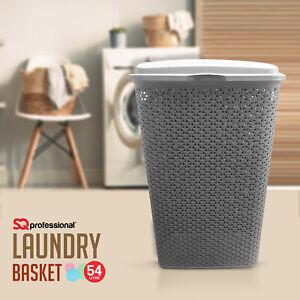 Rattan-Laundry-Bin-Basket-Washing-Clothes-Toy-Accessory-Storage-Hamper-54L-Grey