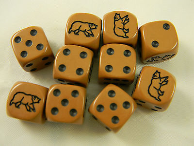 DUNGEONS /& DRAGONS Brown Bear Set of 10 Six Sided Dice Roleplay Game D/&D