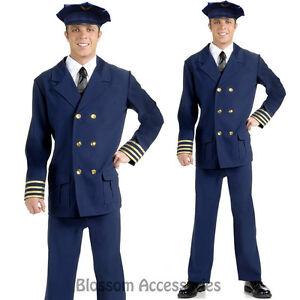Image is loading K37-Mens-Airline-Pilot-Captain-Costume-Uniform-Sailor-  sc 1 st  eBay & K37 Mens Airline Pilot Captain Costume Uniform Sailor Navy Halloween ...