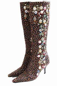 Oscar-de-la-Renta-Boots-Embellished-Knee-High-Black-Embroidery-Sz-37-Italy