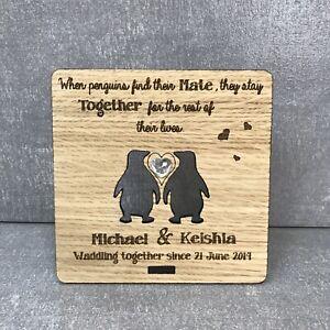 Personalised Engraved Oak Plaque 5 Yr Anniversary Wood Gift Cute Penguins Ebay