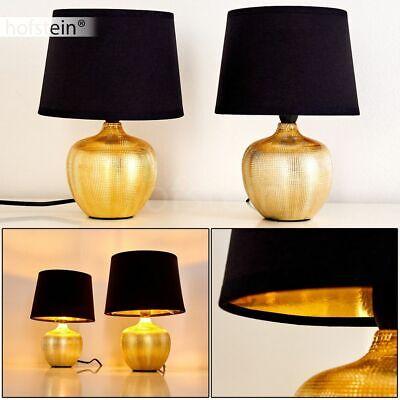 2er Set Keramik gold Schlaf Wohn Zimmer Leuchten Stoff Nacht Tisch Lese Lampen