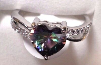 womens heart rainbow/clear topaz ring 925 sterling silver size 9
