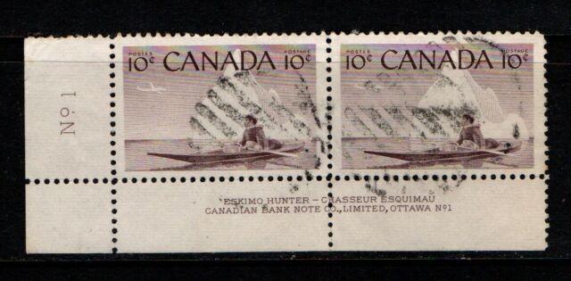 Canada 1955 10c Eskimo Hunter SG477 SC 351 Imprint Pair Used