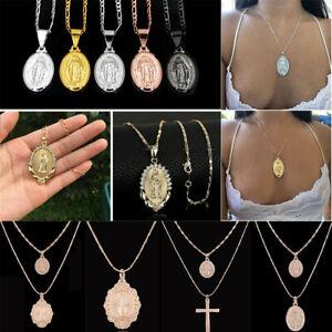 Men-Women-Virgin-Mary-Jesus-Pendant-Necklace-Overlay-Religious-Catholic-Jewelry