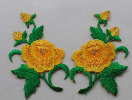 2 x Iron On Patches embroidered  Applique Sew on Flowers #3