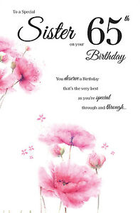 Image Is Loading 65th SISTER BIRTHDAY CARD AGE 65 NEW DESIGN