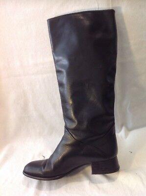 Carvela Negro Knee High Cuero Botas Talla 39.5