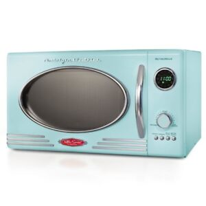 image is loading retro aqua countertop microwave oven 0 9 cu - Turntable Kitchen