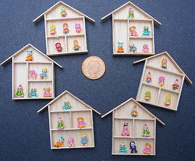 1:12 Scala 6 Assortiti Figure Di Clay Fissato In Una Cornice In Legno Accessorio Casa Delle Bambole-mostra Il Titolo Originale