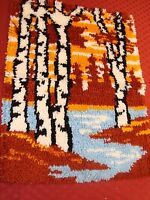 Completed Latch Hook Rug Woods Stream Silhouette Finished 20 X 27 Needs Bound