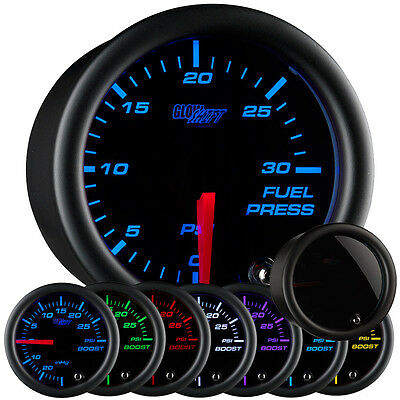 52mm GlowShift Tinted 7 Color 30 PSI Fuel Pressure Gauge - GS-T711-30