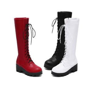 5bd00fdf42d9cf Das Bild wird geladen Schnuerstiefel-Fashion-Trend-Lange -Komfort-Stiefel-Individualitaet-Weiblich-