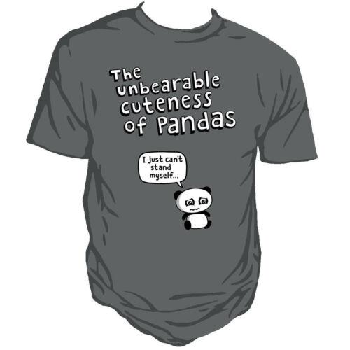 Genki Gear mignon insupportable de Panda Cartoon Humour Drôle T-shirt Unisexe Gris