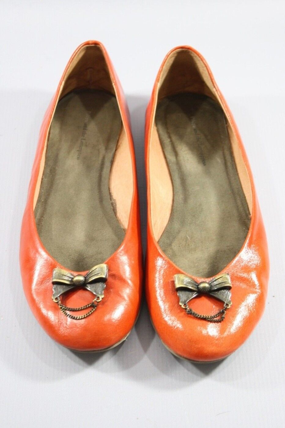 Anthropologie pilcro and the letterpress Orange Cuir verni chaussures, Taille 9