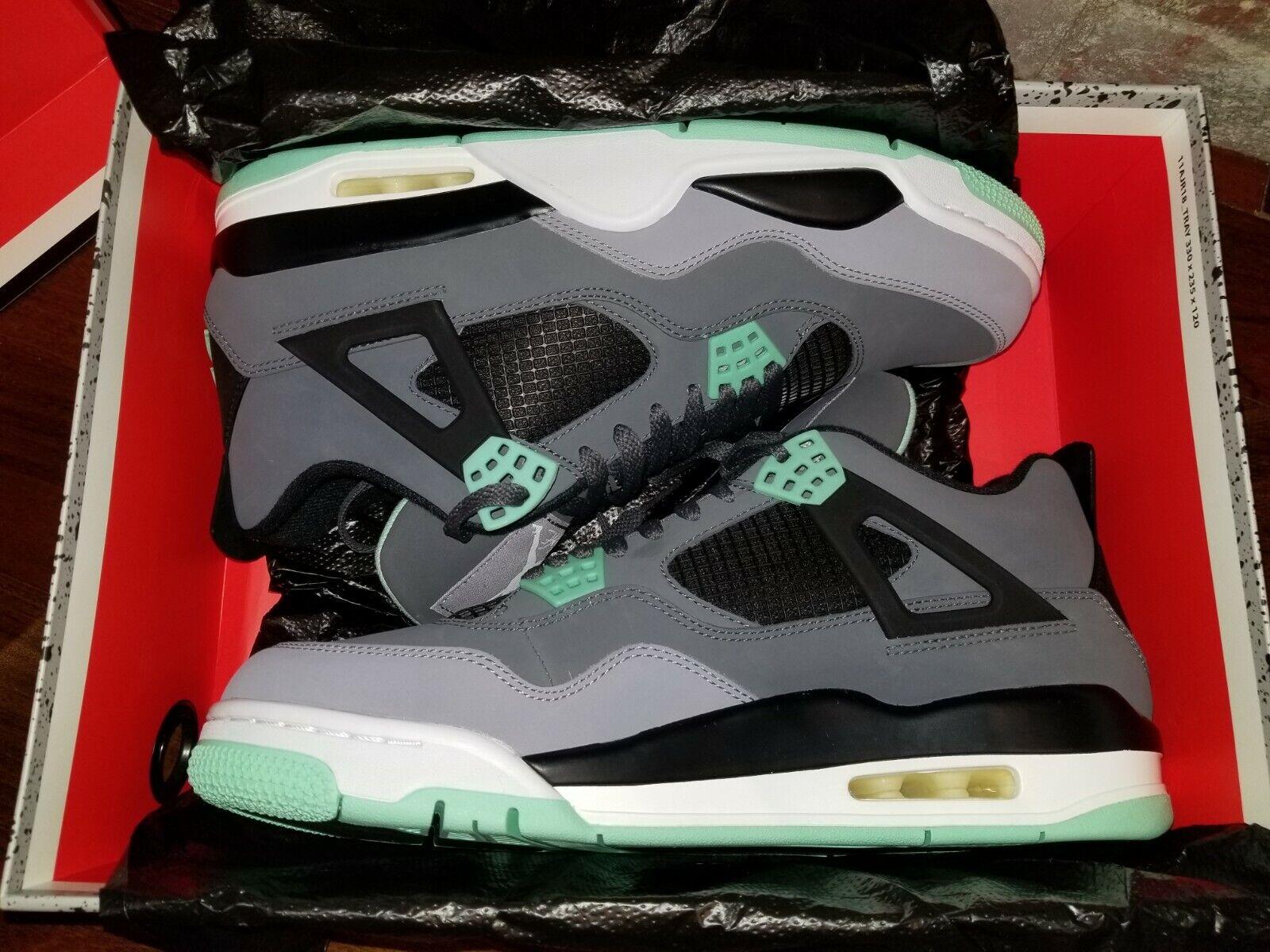 NIKE Air Jordan 4 IV RETRO OG GREEN GLOW sz 10.5 NIB+ foot lockr rcpt 308497 033