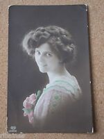 Vintage Postcard: Pretty Romantic Young Lady, Colour Tinted, E A Schwerdtfeger