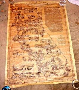 Map Of California Gold Country.Details About Vintage Large Cartoon Map Of Historical California Gold Country Mojave By Millsa