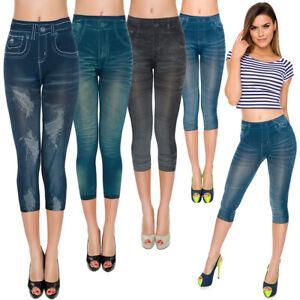 Womens Capri Leggings Denim Imitation 3/4 Length Skinny Stretch Pants FSPW