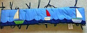 Pottery-Barn-Kids-Sailboat-Nautical-Crib-Bumper-Blue-EUC-152-034
