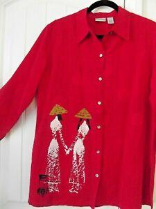 Red Silk oriental blouse