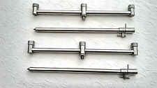 3 ROD SET STAINLESS STEEL BUZZ BARS WITH BANK STICKS Ideal 4 CARP FISHING NGT
