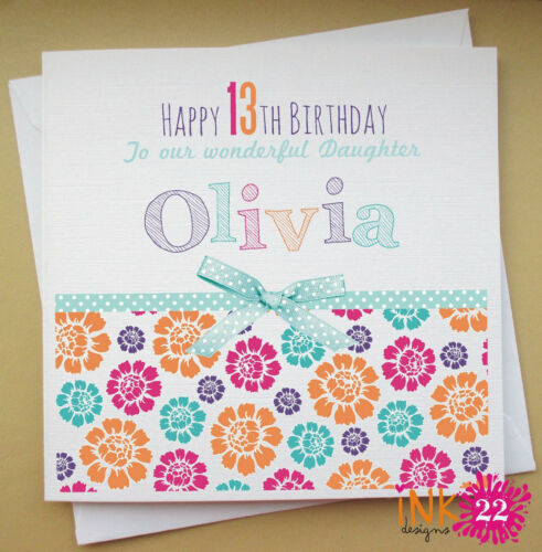Personalised Birthday Card /'Summer Floral/' Any Name//Age 16th//21st//30th Female