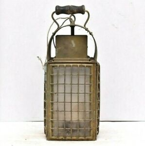 Antique-Ships-Lantern-Large-Copper-15-034-tall-Marine-nautical-Cargo-lamp-Electric