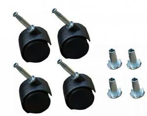 4 x Twin Castors Wheels & Inserts - For Divan Bed Base Sofa Settee ...