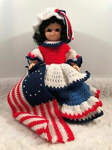 13 Inch Betsy Ross Doll Hand Crocheted Red White Amp Blue