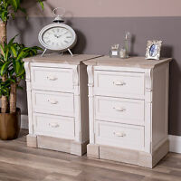 Cream Pair Of Bedside Tables Chest Shabby Vintage Chic Hall Furniture Home Decor