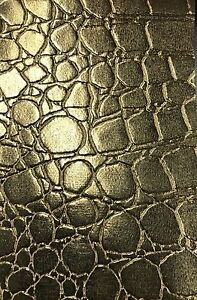 1 Yard Vinyl fabric Olive Shiny Faux Crocodile Embossed 3D Scales-Faux Leather