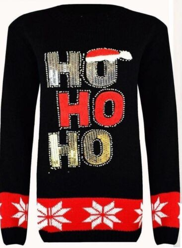 ho hoNew Ladies 3D Christmas HO-HO-HO sequins jumper with Pompom hat Size 8-14