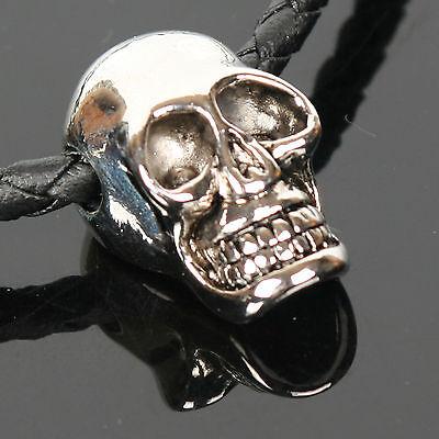 Mens Gothic Skull Pendant Leather Choker Necklace NE.04