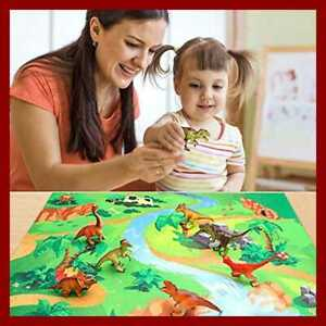 Dinosaur-Toys-14-Pcs-Figures-Simplify-Activity-Play-Mat-For-Creating-A-Dino-Worl