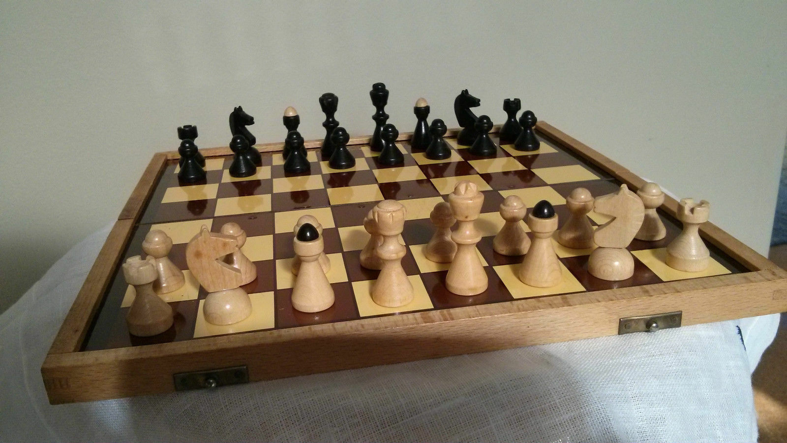 Vintage 1960s high quality 10  magnetic wood chess set made in Czechoslovakia
