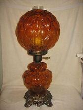 Vintage Mid Century Artichoke Amber Glass GWTW Table Lamp w/Nigh Light