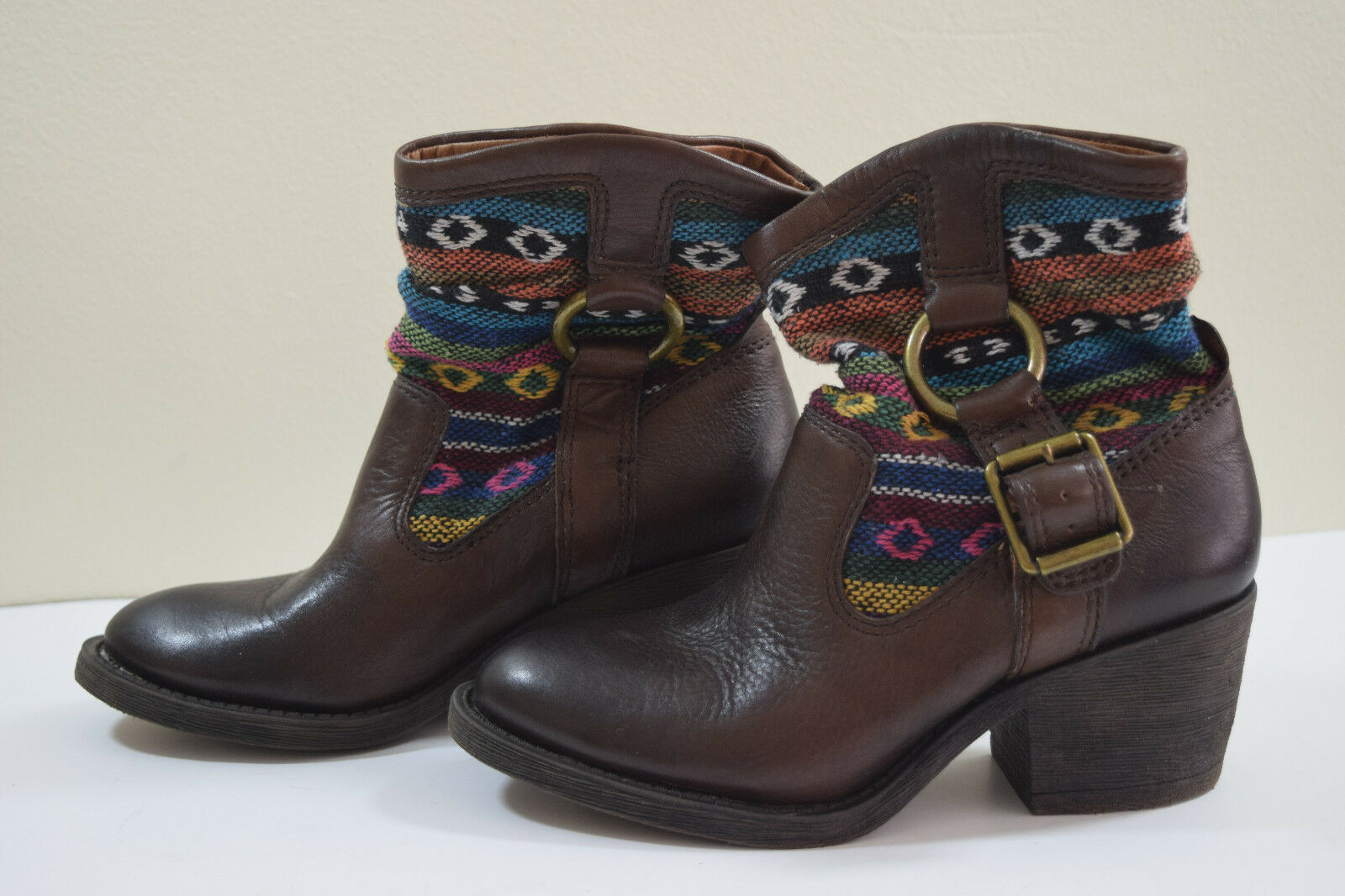 LUCKY BRAND WOMEN BOOTS 5.5 M LEATHER COWBOY BOOTIES AZTEC NAVAJO WESTERN