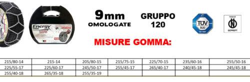 KIT CATENE DA NEVE 9 MM OMOLOGATE TUV PER PNEUMATICI GRUPPO 120 255//45-17